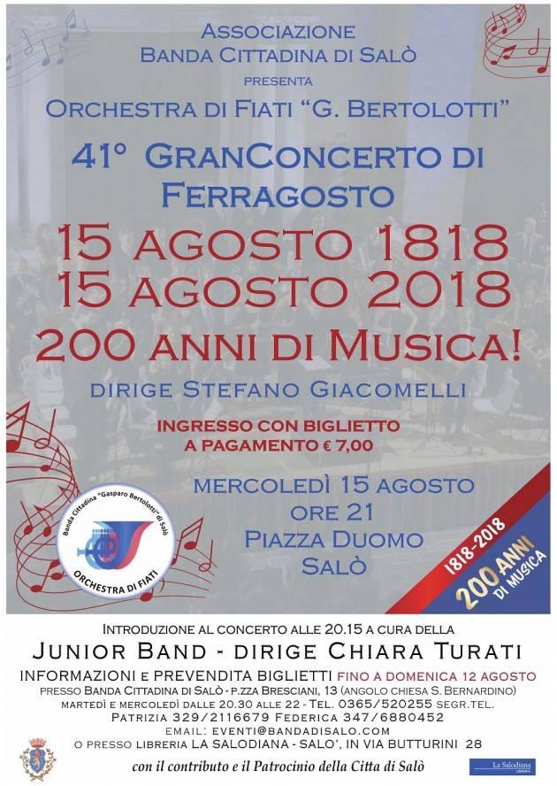 Gran Concerto di Ferragosto a Salò per i 200 anni della banda cittadina