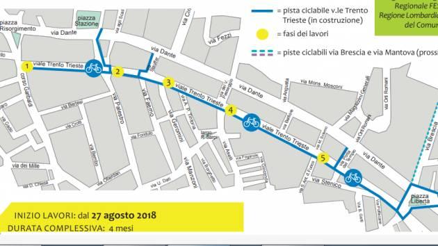 A Cremona Ciclabile di viale Trento e Trieste, i lavori iniziati il 27 agosto