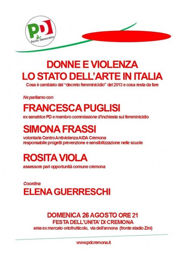 Cremona: domenica 26/8 l'iniziativa 'Donne e violenza -  Lo stato dell'arte in Italia'