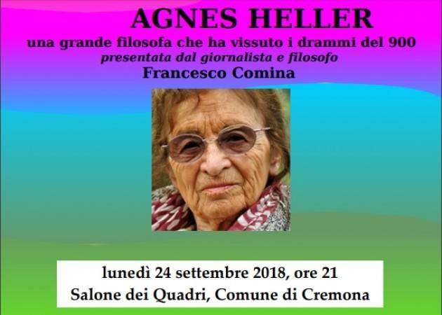 Nell'ambito FestaVolontariato2018 Agnes Heller a Cremona il 24 settembre