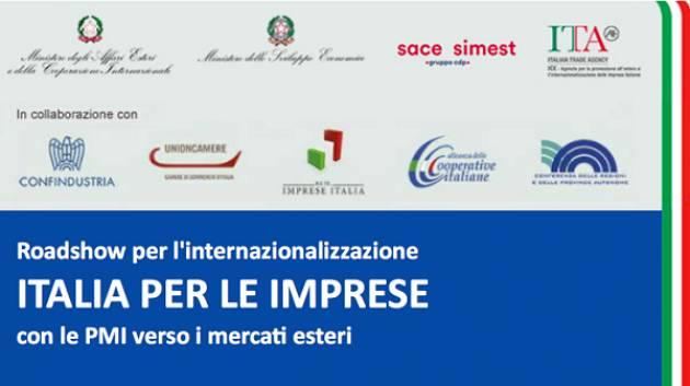 Il 20 settembre Cremona ospita il Roadshow 'Italia per le imprese, con le PMI verso i mercati esteri'