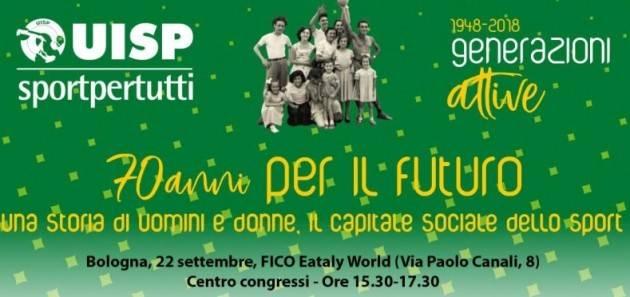 UISP celebra i sui primi 70° a Bologna il prossimo  sabato 22 settembre
