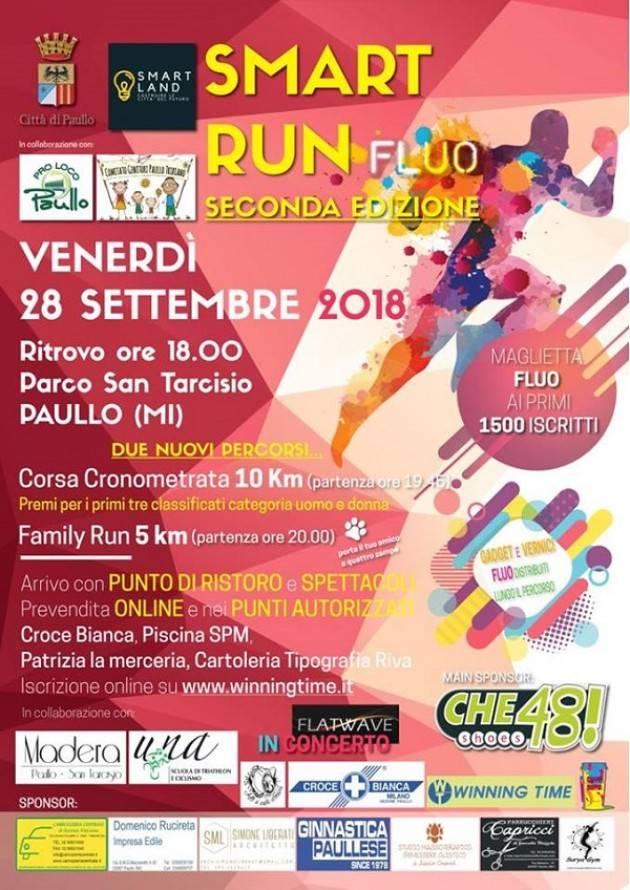 Paullo (Mi) Aperte le iscrizioni per Smart Run Fluo in programma per venerdì 28 settembre