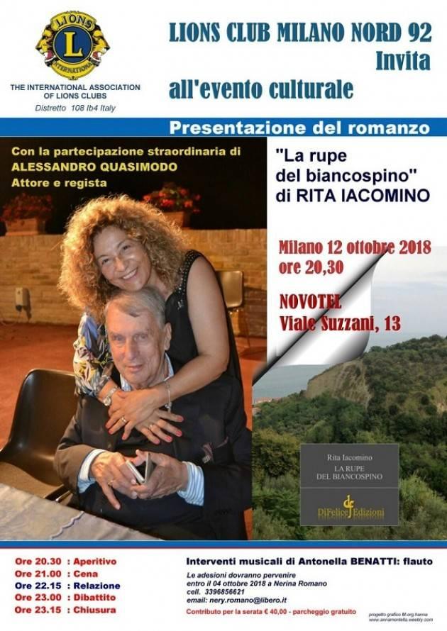 A Milano presentazione del romanzo 'La rupe del biancospino