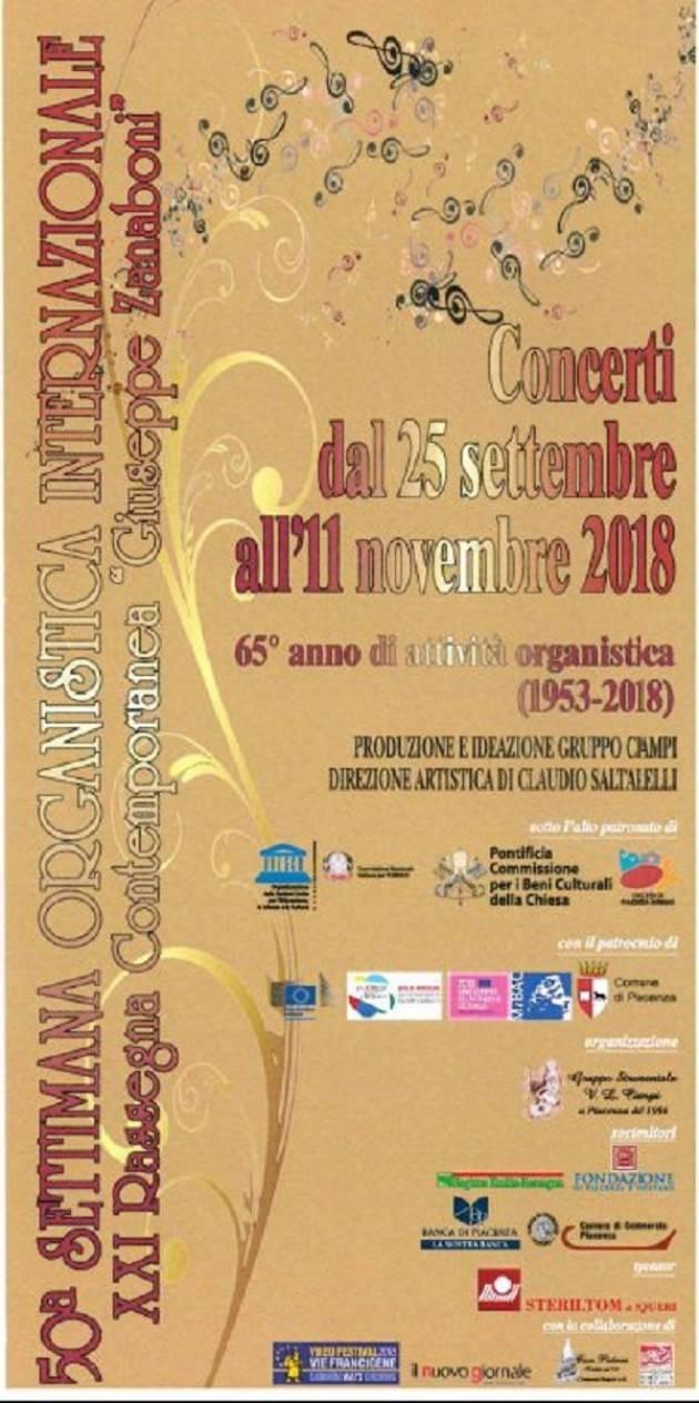 Piacenza: 'Settimana Organistica Internazionale', il programma della 50° edizione