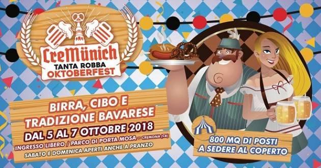 Cremunich - Tanta Robba's Oktoberfest: al Parco di Porta Mosa il 5,6 e 7 ottobre