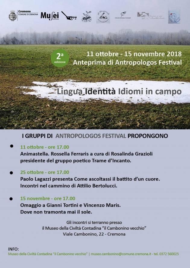 Cremona: seconda edizione dell'Anteprima di Antropologos Festival