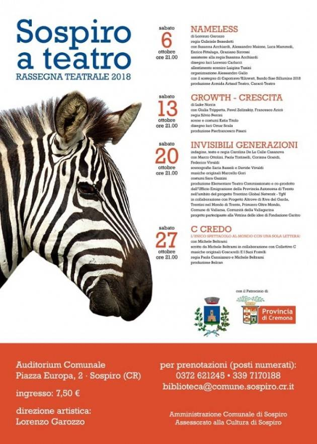 SOSPIRO A TEATRO RASSEGNA TEATRALE 2018 Evento di sabato 20 ottobre
