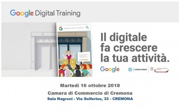 Cremona: martedì 16 ottobre 'Google Digital Training. Il digitale fa crescere la tua attività'