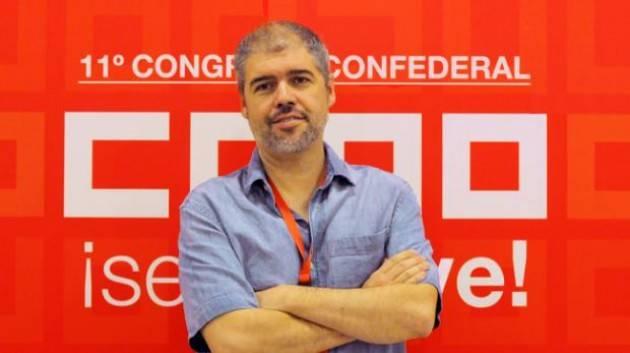 Spagna Unai Sordo Comisiones Obreras  : accordo Psoe e Podemos , una piccola grande rivoluzione