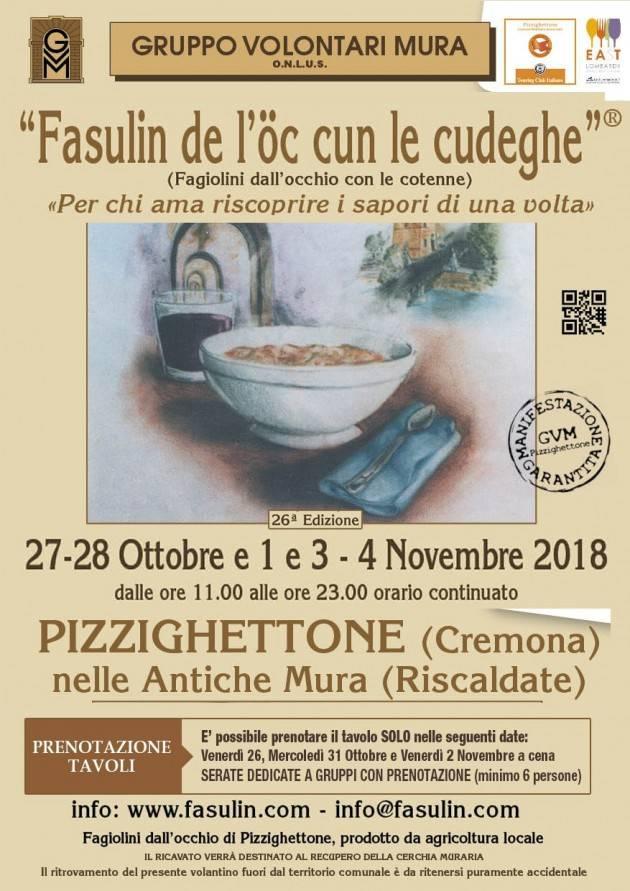 Pizzighettone 26^ Fasulin de l'òc cun le Cudeghe   27-28 Ottobre - 1-3-4 Novembre 2018