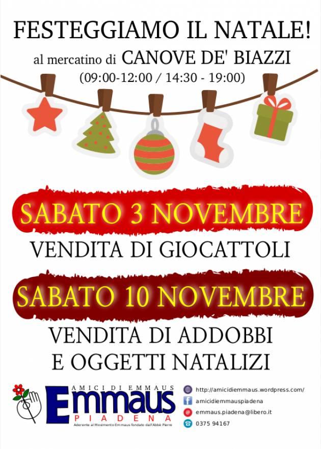 EMMAUS Festeggiamo Santa Lucia ed il Natale al mercatino di Canove de' Biazzi.