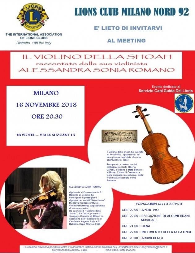 Milano incontro 'Il violino della Shoah' raccontato dalla sua violinista Alessandra Sonia Romano il 16 nov