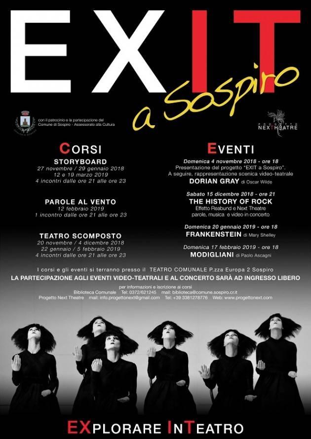 Progetto EXIT a Sospiro - STAGIONE 2018/2019 Evento del 15 dicembre