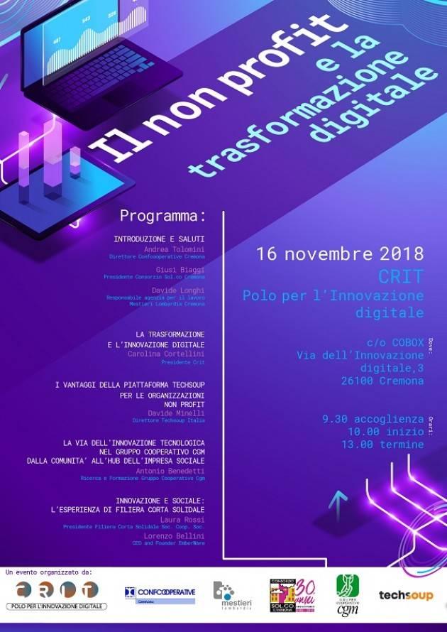 Il settore Non Profit e la Trasformazione digitale: confronto a Cremona il 16 novembre