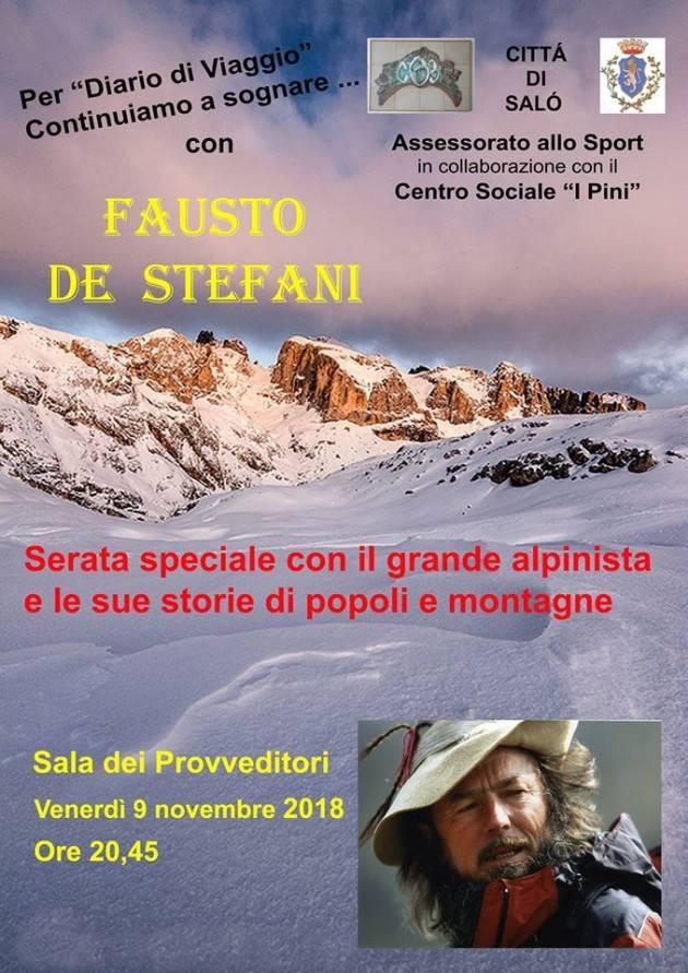 Incontro con l'alpinista Fausto De Stefani presso il Comune di Salò