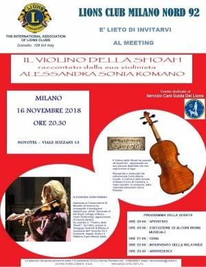 Milano: il violino della Shoah venerdì 16 novembre