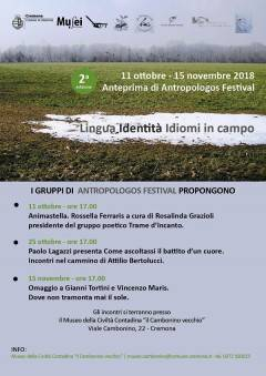 Cremona: il 15 novembre  Antropologos Festival con Marina Grazioli e Lucia Zanotti