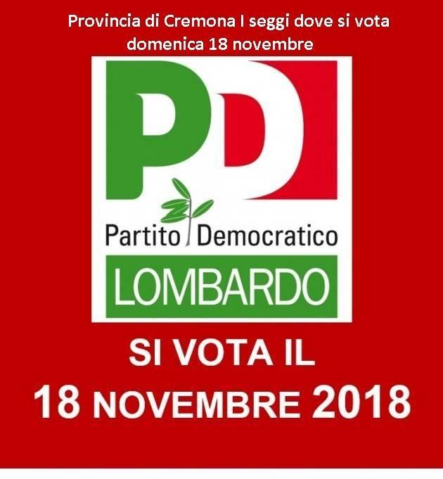 Cremona Congresso Lombardo e Provinciale Partito Democratico Domenica 18 novembre . Dove si vota