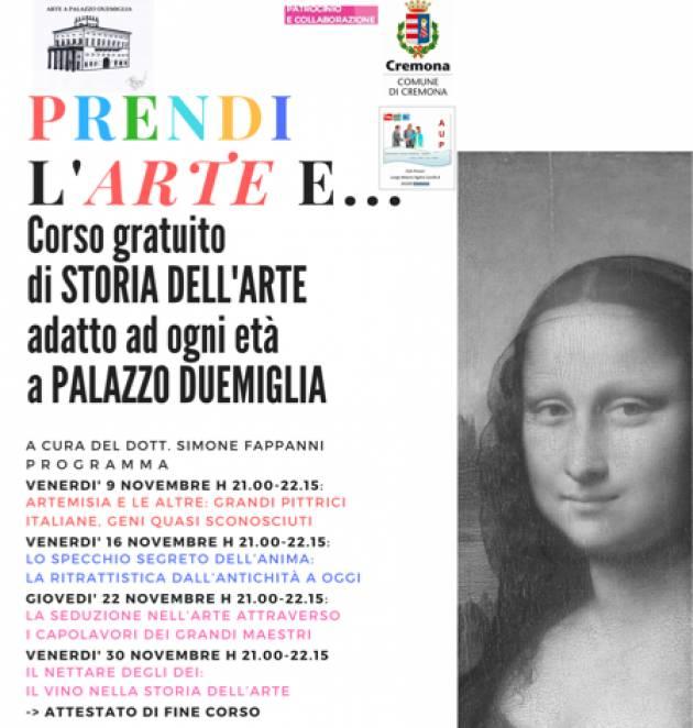 Cremona Continua senza sosta il programma di iniziative culturali della rassegna 'Arte a Palazzo Duemiglia'