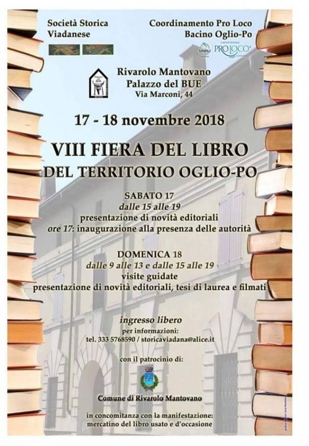 Al via a Rivarolo Mantovano l'ottava edizione della Fiera del Libro Oglio Po