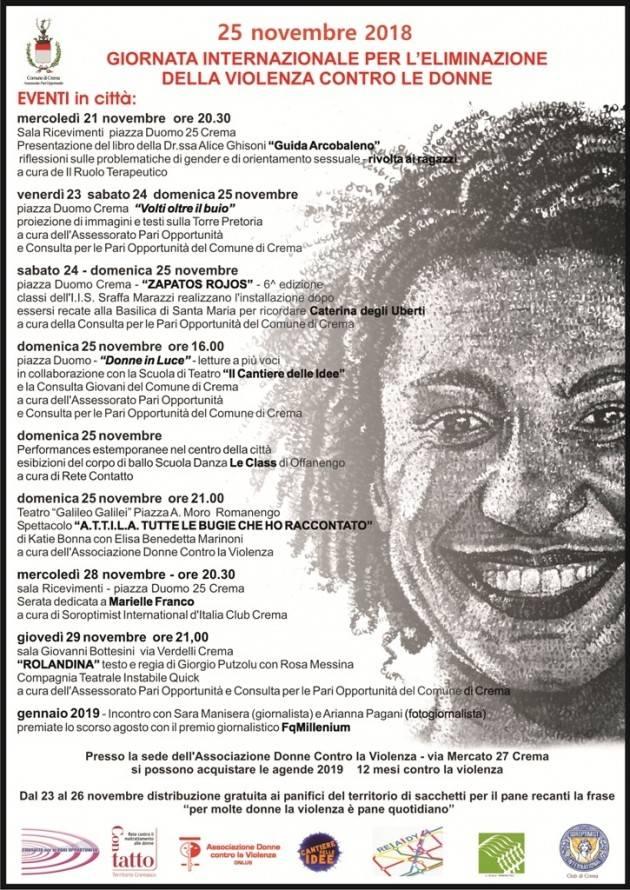 Anche a Crema  il 25 novembre  NO alla Violenza Contro le Donne