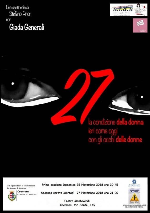 AIDA  Cremona Contro la violenza sulle donne  spettacolo domenica 25 al Monteverdi