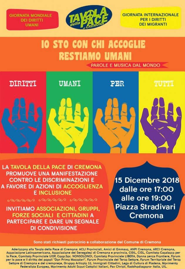Diritti Umani Per Tutti Manifestazione il 15 dicembre in p.zza Stradivari dalle 17 alle 19 a Cremona
