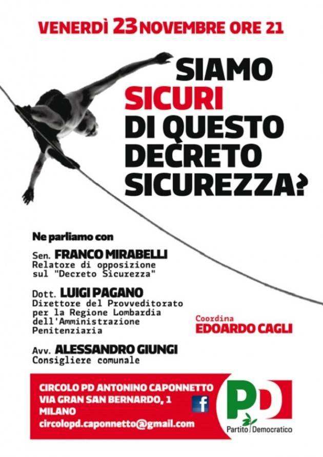 Milano: il 23/11 'Siamo sicuri di questo decreto sicurezza?'