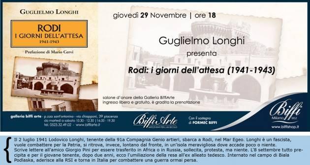 A Piacenza GULGLIELMO LONGHI GIOVEDI  29 nov. ALLE 18 DA BIFFI ARTE