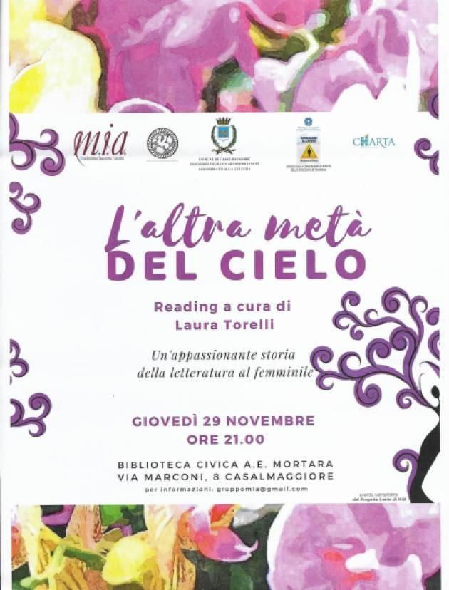 Casalmaggiore Iniziativa 'L'altra metà del cielo', promossa dalla Associazione MIA  il 29 novembre