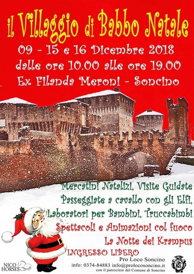 Natale a Soncino: il 9, il 15 e il 16 dicembre 2018