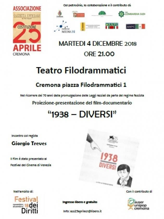 Al Filo di Cremona  il 4 dicembre la proiezione del film documentario 1938-Diversi con il registra Giorgio Treves.