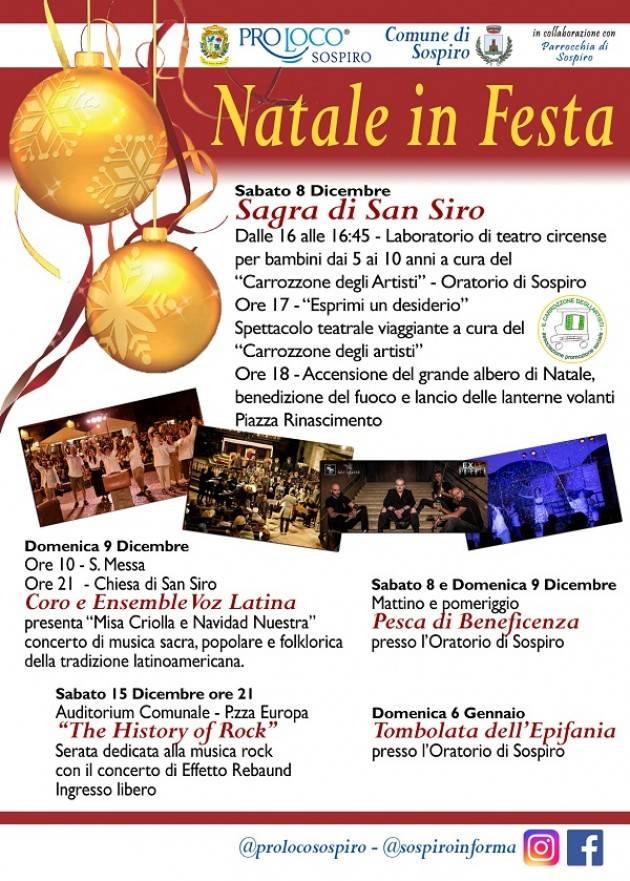 SOSPIRO - NATALE IN FESTA 2018 Evento Sabato 15 dicembre