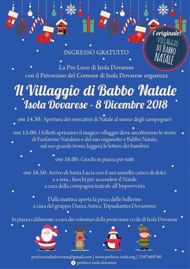Isola Dovarese: l'8 dicembre 'Il Villaggio di Babbo Natale'