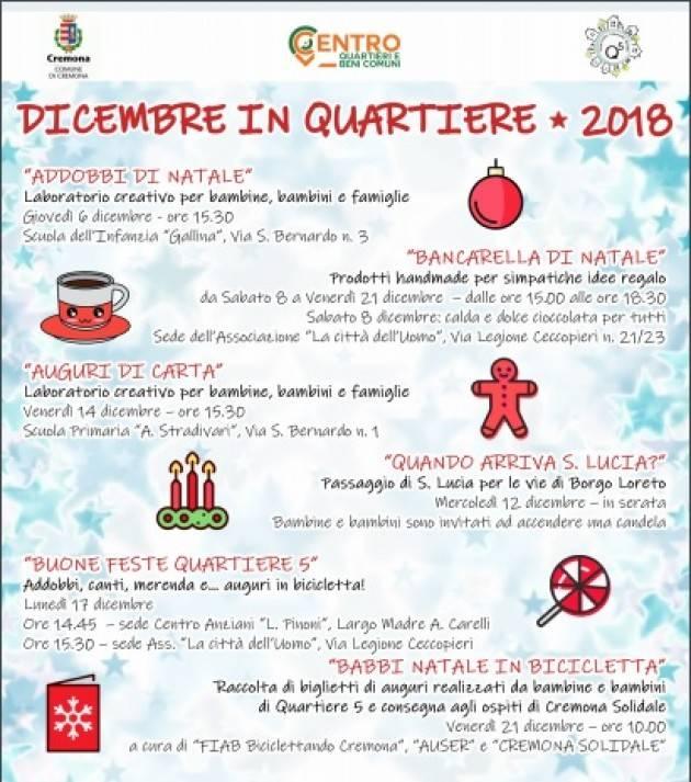 Cremona Dicembre in Quartiere, tante le iniziative a San Bernardo