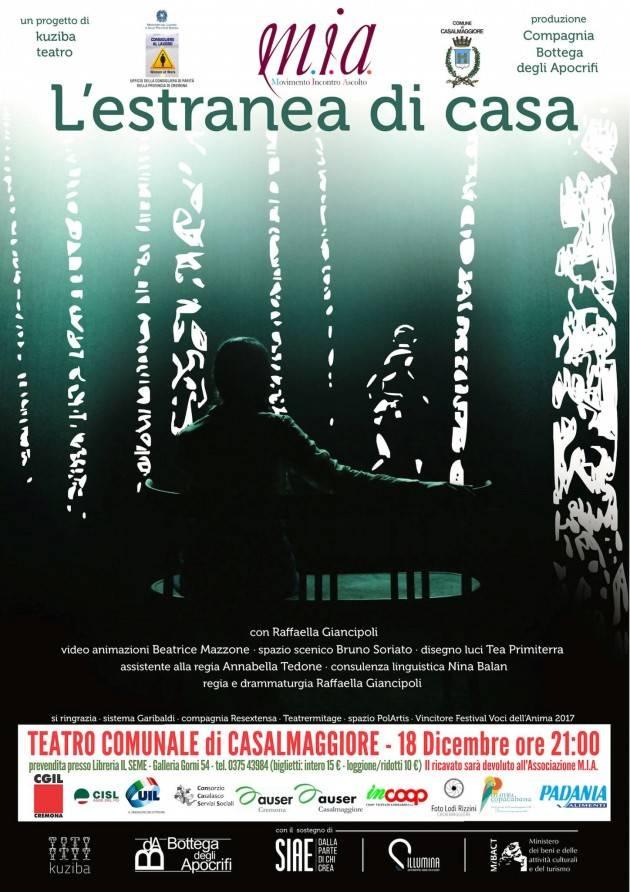 Casalmaggiore Spettacolo 'L'estranea di Casa' il 18 dicembre al Teatro promosso da MIA