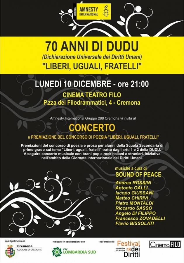 Amnesty Cremona Dichiarazione Universale Diritti Umani Evento  Liberi, Uguali, Fratelli  lunedì 10 dic al Filo