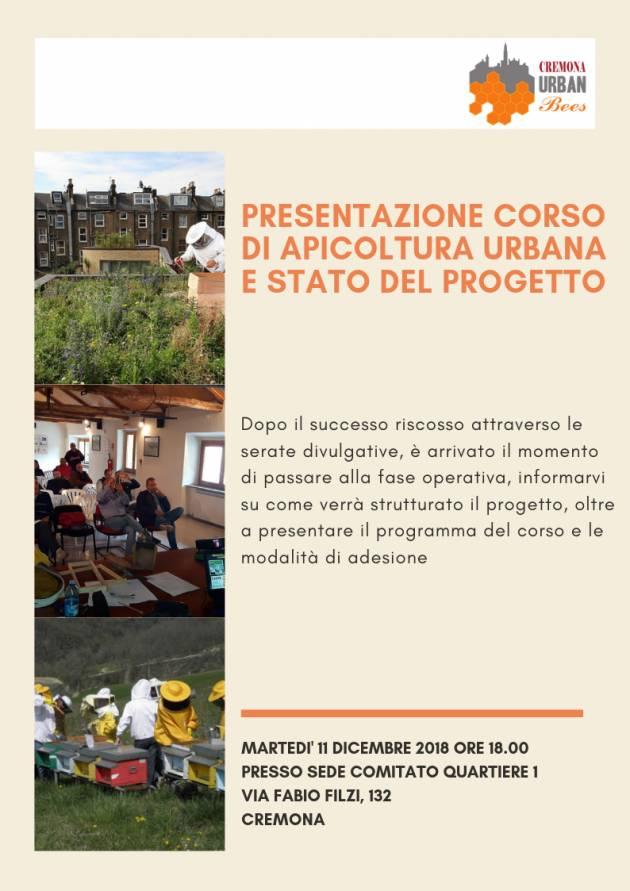 Cremona Urban Bees , incontro   l'11 dic. per installare e gestire l'apiario collettivo