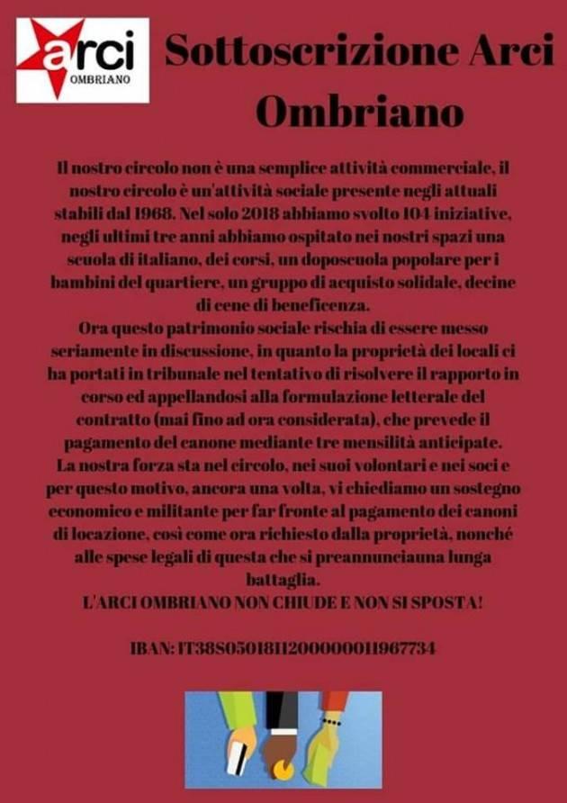 Crema  di lancio della campagna di sottoscrizione ad Arci Ombriano