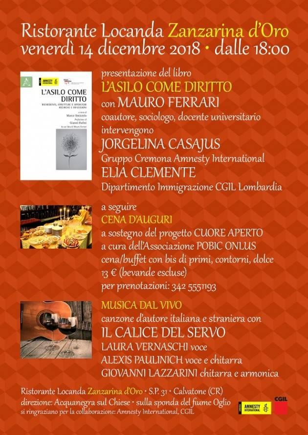 Incontro a Calvatone L'asilo come diritto L'Associazione POBIC Onlus aderisce alla manifestazione  del 15 a Cremona