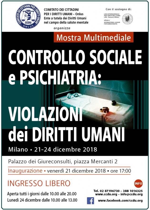 Torna a Milano la mostra sulla psichiatria. Al Palazzo dei Giureconsulti dal 21 al 24 dicembre.