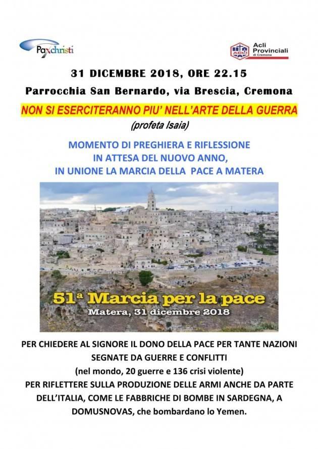 Cremona  Acli e Pax Christi organizzano in parrocchia San Bernardo per 31 dicembre un momento di preghiera in attesa nuovo anno