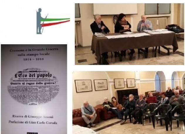 L'ECOSTORIA  Presentato il  libro Cremona e la Grande Guerra di Giuseppe Azzoni