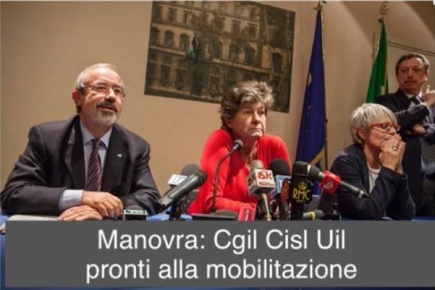 Cgil-Cisl-Uil Bocciano la manovra 2019 del governo giallo-verde  Pronti alla mobilitazione