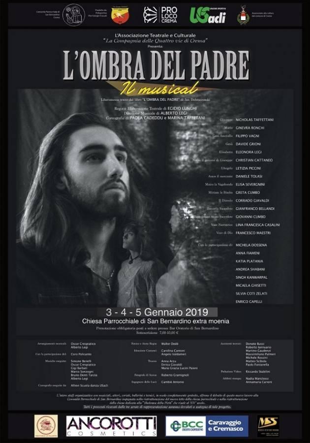 Acli Crema In arrivo a San Bernardino il musical 'L'Ombra del Padre' il 3,4,5 gennaio