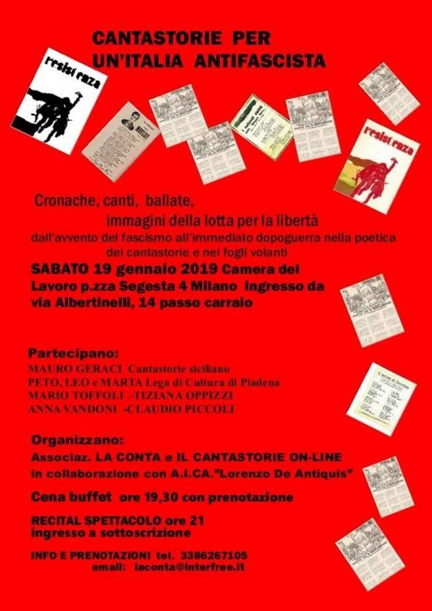 Milano  Ass.La Conta organizza la serata CANTASTORIE PER UN ITALIA ANTIFASCISTA per il 19 gennaio
