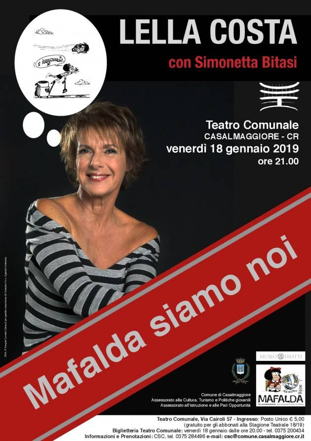 Teatro Casalmaggiore MAFALDA SIAMO NOI incontro con LELLA COSTA  e con Simonetta Bitasi
