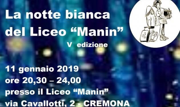 Cremona Notte Bianca al Liceo Manin l'11 gennaio