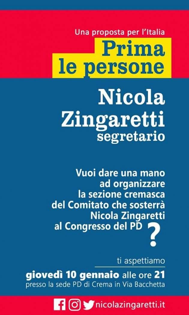 Jacopo Bassi (Pd Crema) .Partecipate  , giovedì 10 gennaio all' incontro del comitato cremasco per Zingaretti segretario.